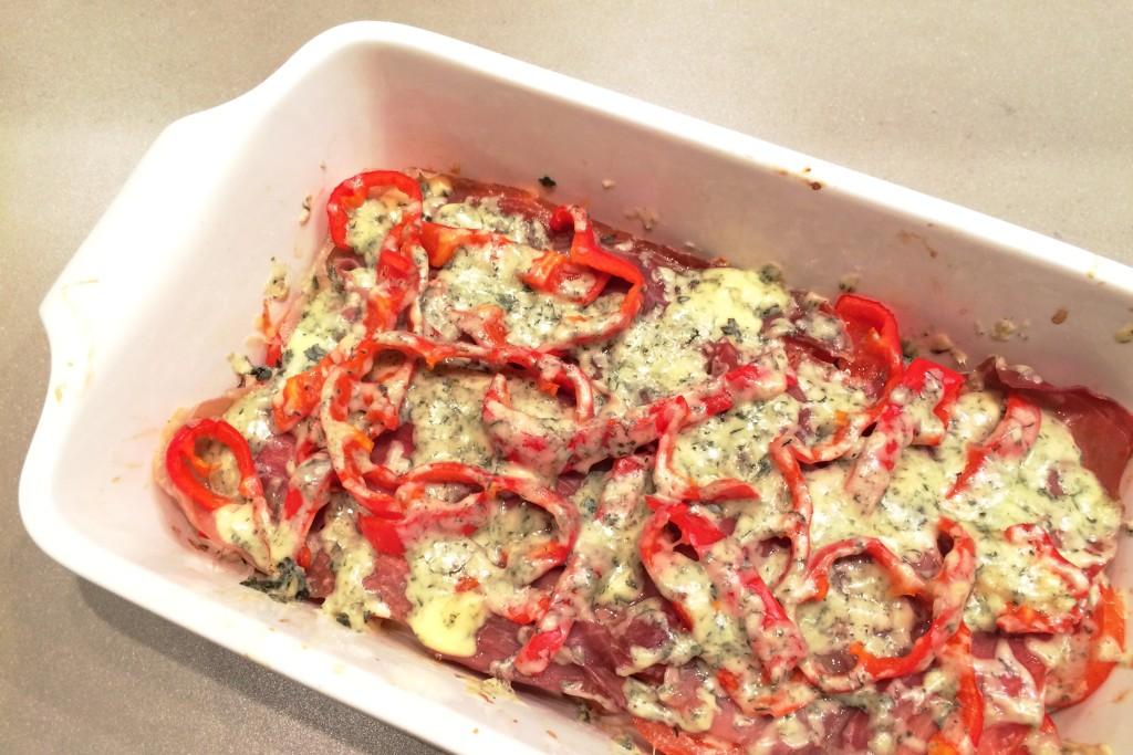 recept ovenschotel stokbrood, tomaten en rauwe ham