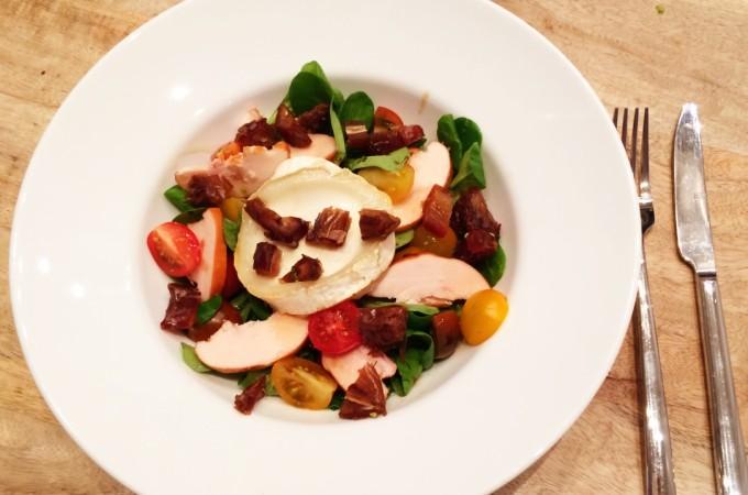 recept salade geitenkaas en gerookte kip