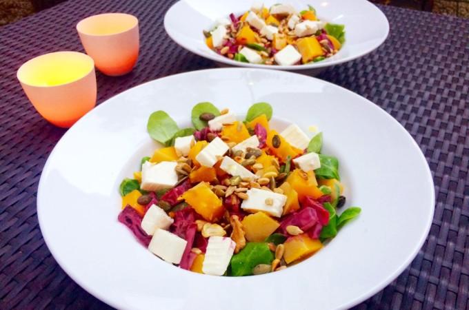 recept salade pompoen bieten feta