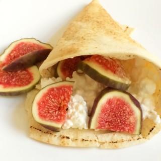 recept wrap van libanees brood met hüttenkase en vijgen
