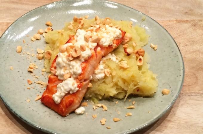 recept zuurkoolstamppot van zoete aardappel en zalm