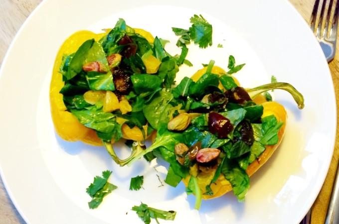 recept Gevulde paprika met spinazie, dadels en sinaasappel