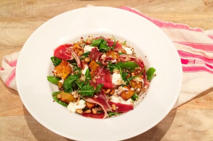 recept Salade met pompoen, geitenkaas en iberico ham